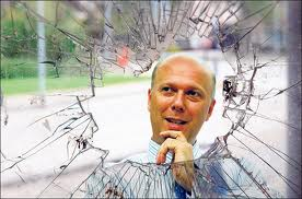 Chris Grayling shattered window.  Drat Missed.