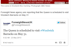 Queen Wollwich 31 May 2013