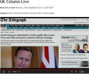 Cameron Embroiled in Twitter Fight