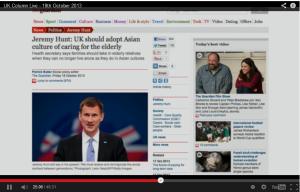 Jeremy Hunt adopt Asian Look after elderly