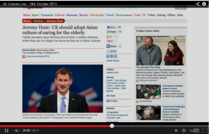 Jeremy Hunt adopt Asian Look after elderly