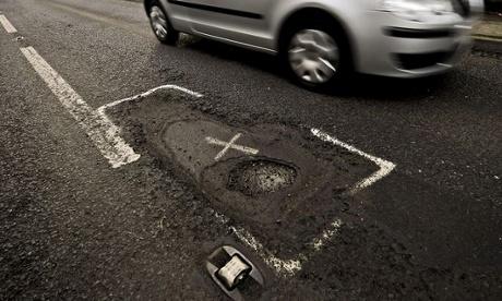 Pothole in Gloucestershire