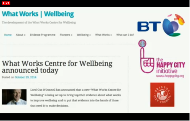 UKC 29 October 2014 WellBeing Studies BT Happy Cities Gus O'Donnell